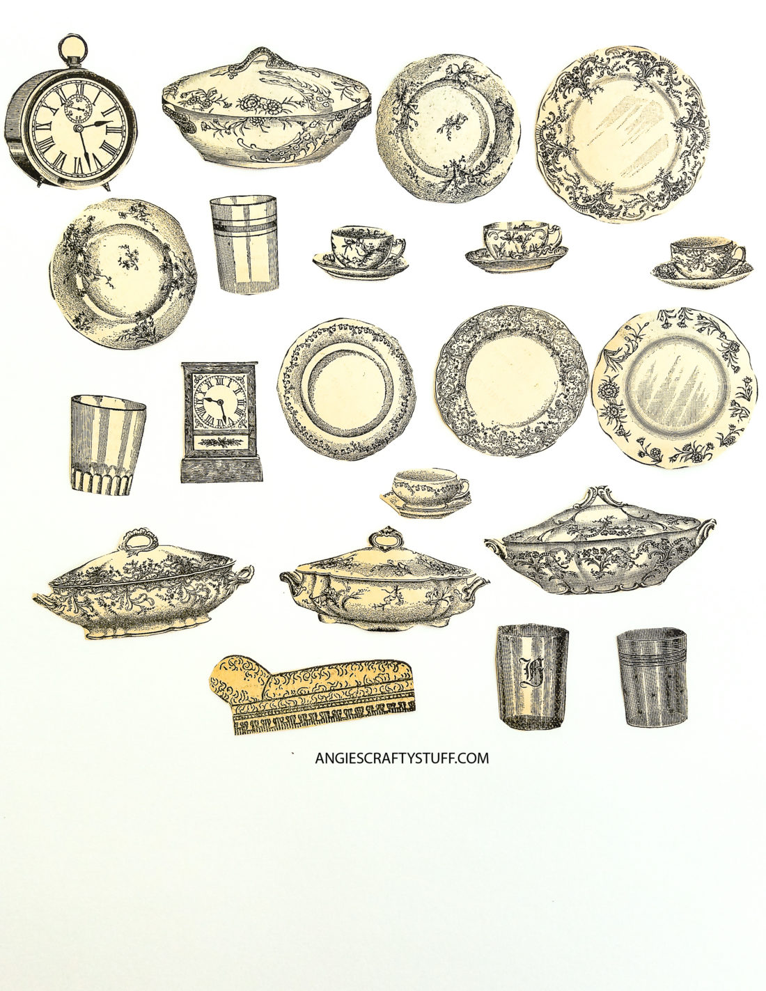 Vintage dishes clipart