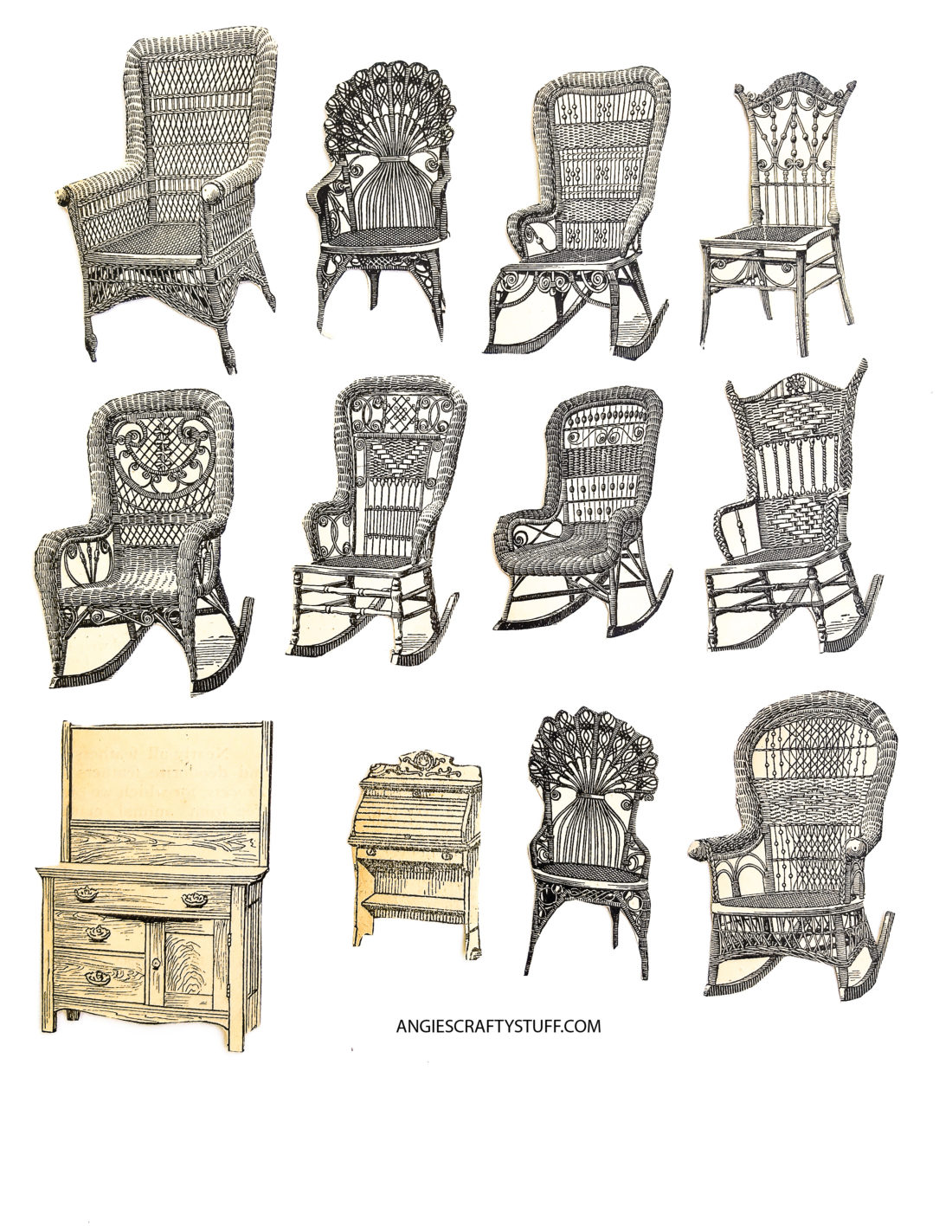 vintage wicker chairs clipart